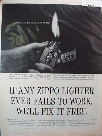 Zippo Lighter V-2 Bombing Ad 1965