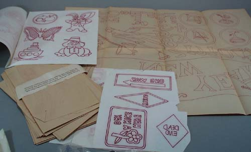 Transfers, Christmas design and jean transfers.  These were originally sold for Artex paint designs, 1971, but work for all types of needlecraft projects.  Some have been cut and are missing, but there are still many, many (over 100). Shipping is 1.50