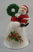 Christmas bell with santa climbing with wreath 1957