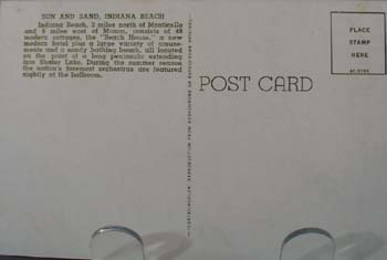 Sun & Sand Indiana Beach Postcard