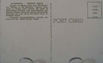 Boardwalk Indiana Beach Postcard.