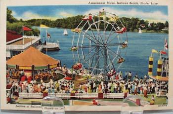 Amusement Rides Indiana Beach Postcard