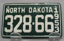 1953 North Dakota Mini License Plate