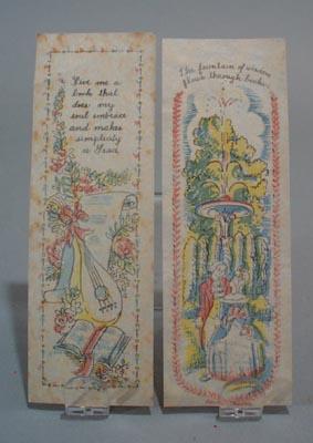 2 rice paper pastel bookmarks, nice designs