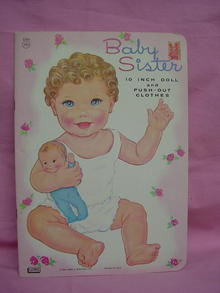 1966 VINTAGE 10IN BABY PAPER DOLL, EXC