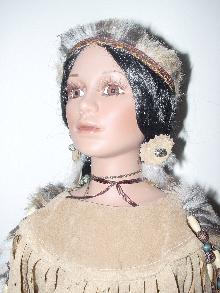 ZINA, PORCELAIN AMERICAN INDIAN 22IN DOLL