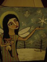 ANGEL FRANCESCA W/ DOG, FIRST SNOW, ORIGINAL PAINTING, 16INX20IN, SIGNED