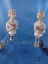 1940'S VINTAGE PAIR OF GIRLS LAMPS, PLASTER, GOOD COND