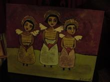 FAITH, HOPE, & CHARITY, 3 ANGELS ORIGINAL PAINTING BY SEATON