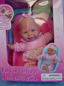 VINYL BABY W/CARRYING SEAT, GIGGLES&SHAKES