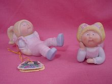 1984 Cabbage Patch, 2 Girls with Pigtails Figures, Mint