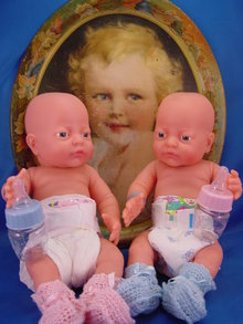 2 17in Anatomically Correct Baby Doll Twins, Mint