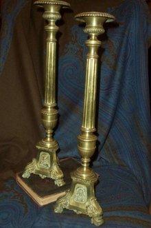 XIX Century Bronze Tall Candlesticks