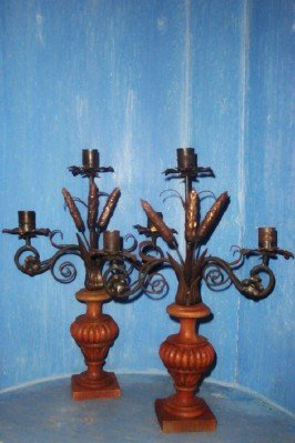Pr. Woodcarved and Iron Candlesticks