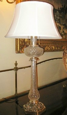 Pr. Cut Crystal and Silverplated Lamps
