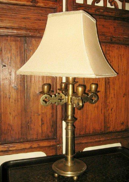 1920's Brass Candlestick Lamp