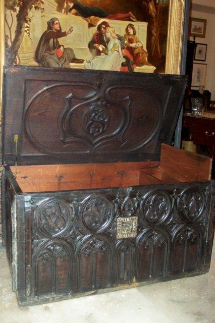 XVIII Century French Oak Gothic Trunk