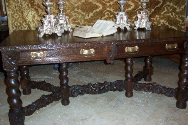 XIX Century Oak Portuguese Library Table