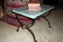 Iron and Marble Top Side Table