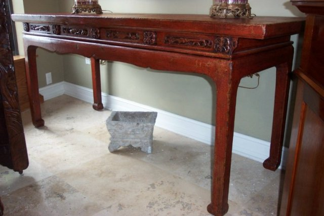 XVIII Century Chinese Red Cinnabar Lacquer Altar Table