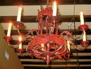 1920's Italian Painted Iron and Tin Chandelier