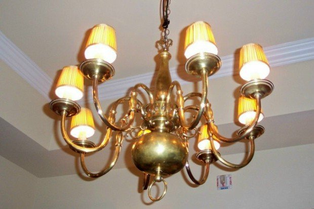 1930's Dutch Colonial Style Brass Chandelier