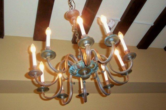 Ten-Light Bronze Chandelier
