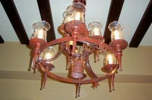 Turn of the Century Spanish Painted Iron Chandelier
