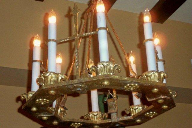 XIX Century Spanish Hammered Bronze Eight Light Chandelier