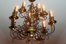 XX Century Italian Painted Iron and Wood Chandelier