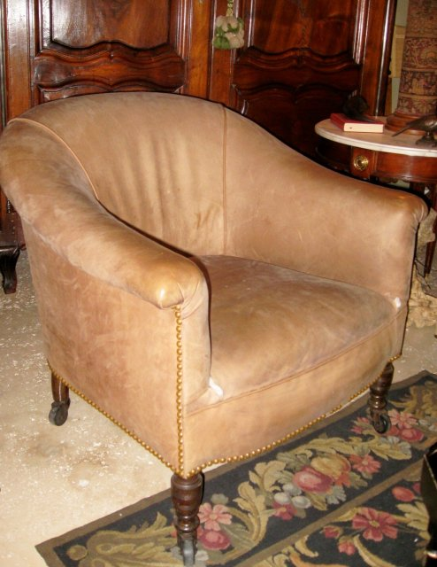 2 English Leather Upholstered Arm Chairs
