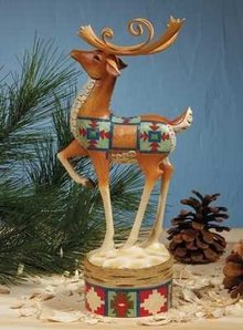 Jim Shore HOLIDAY MAGIC (Lodge REINDEER Prancing) Christmas Figurine