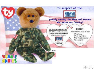 USA HERO Ty Beanie Baby USO Charity Bear
