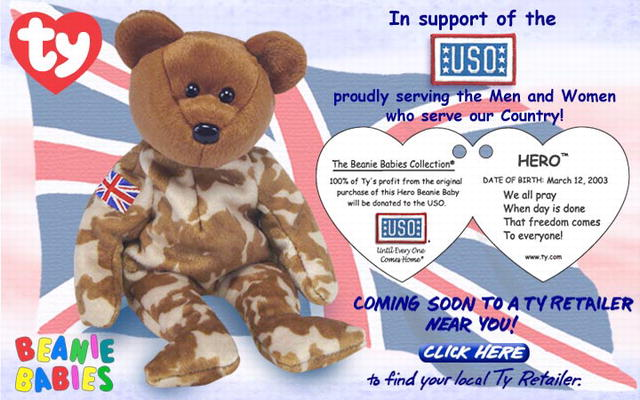 UK HERO Ty Beanie Baby USO British Charity Bear