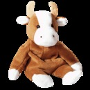 Ty BESSIE Beanie Baby Cow~ Brown & White Sitting Cow