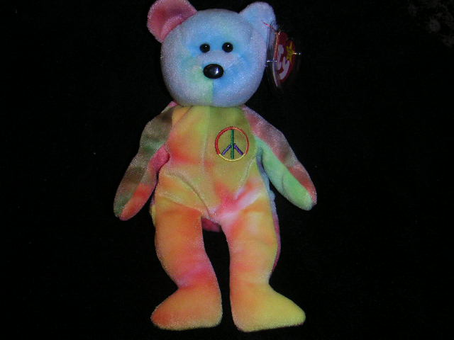 NEON PEACE Ty Beanie Baby Bear RARE  COLORS!