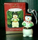 Porcelain Hinged Box- Snowman Hallmark 1997 Ornament