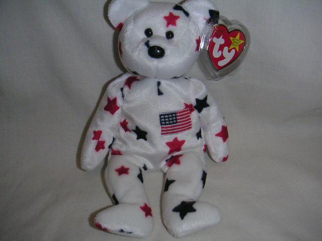 TY GLORY Patriotic Beanie Baby Bear USA