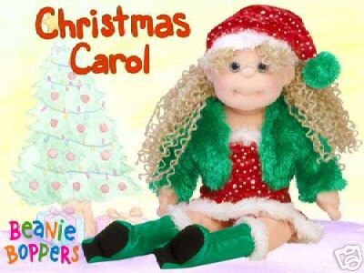 Ty Christmas CAROL Beanie BOPPER Doll~RARE WHITE POM Version