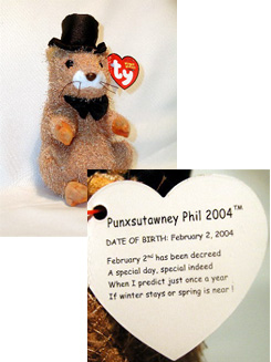 Ty PUNXSUTAWNEY PHIL Beanie Baby Pennsylvania Exclusive 2004~Groundhog Day