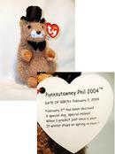 Ty PUNXSUTAWNEY PHIL 2004 Beanie Baby LIMITED Ed Pennsylvania Chamber of Commerce Groundhog