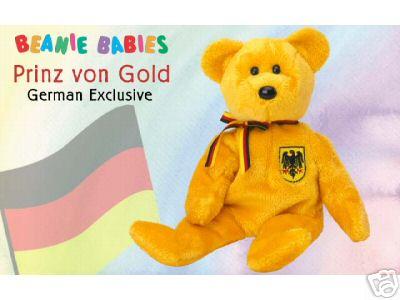 PRINZ VON GOLD Ty Beanie Baby German Exclusive Bear Germany
