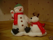JINGLE PALS Singing Dancing SNOWMAN & DOG Hallmark 2004
