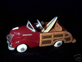 1939 Garton Ford Station Wagon w/ Surf Board Hallmark 1999 Ornament