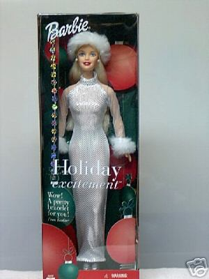 Holiday Excitement Blonde BARBIE Doll by Mattel w/Bonus Bracelet~Christmas
