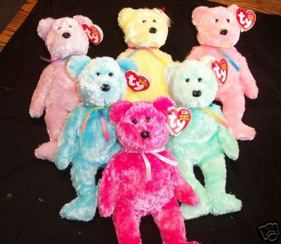 TY BEANIE BABIES All 6 Rainbow SHERBET BEARS