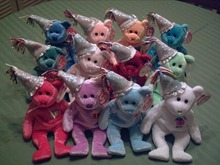 Ty BIRTHDAY Beanie Babies Set of 12 with HATS