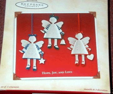 HOPE,JOY & LOVE Hallmark 3 Porcelain Angels 2002