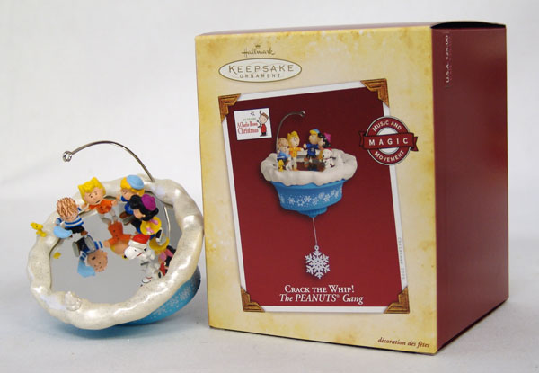 Peanuts CRACK THE WHIP! Magic Hallmark 2005 Christmas Ornament +Batteries