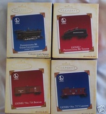 Set of 4 LIONEL TRAIN Hallmark Ornaments 2005